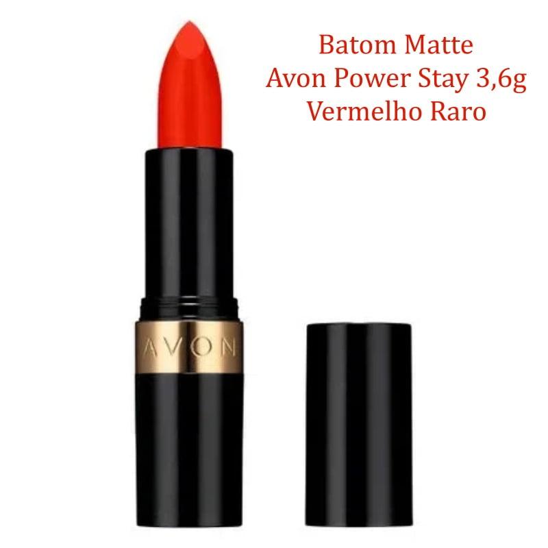AVON BATOM MATTE AVON POWER STAY VERMELHO RARO 3,6G