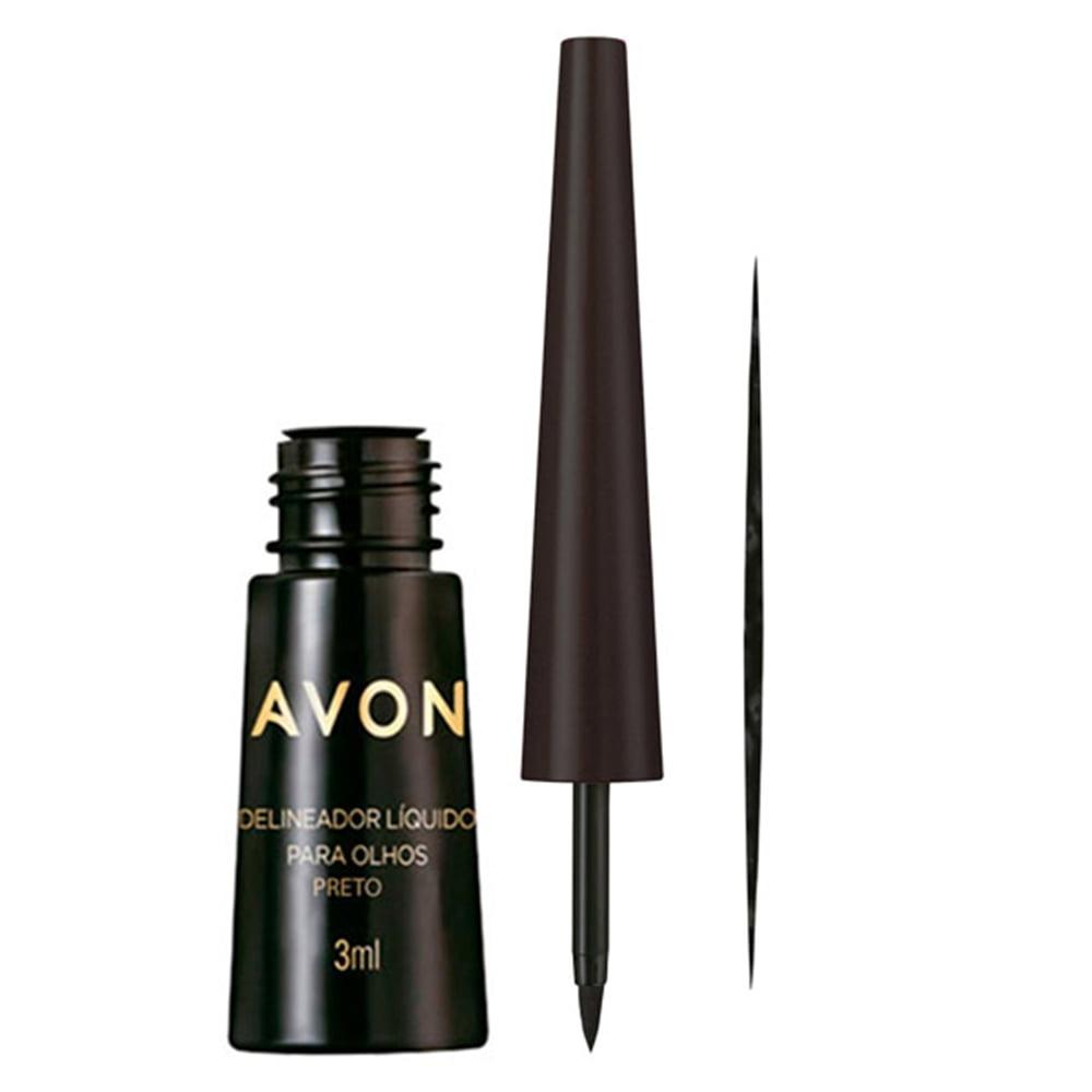Avon Maquiagem Delineador Líquido Para Olhos Preto 3ml