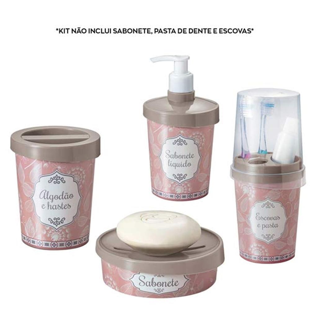 Avon Moda e Casa Kit Linha Banheiro Avon Cinza e Rosa Delicado
