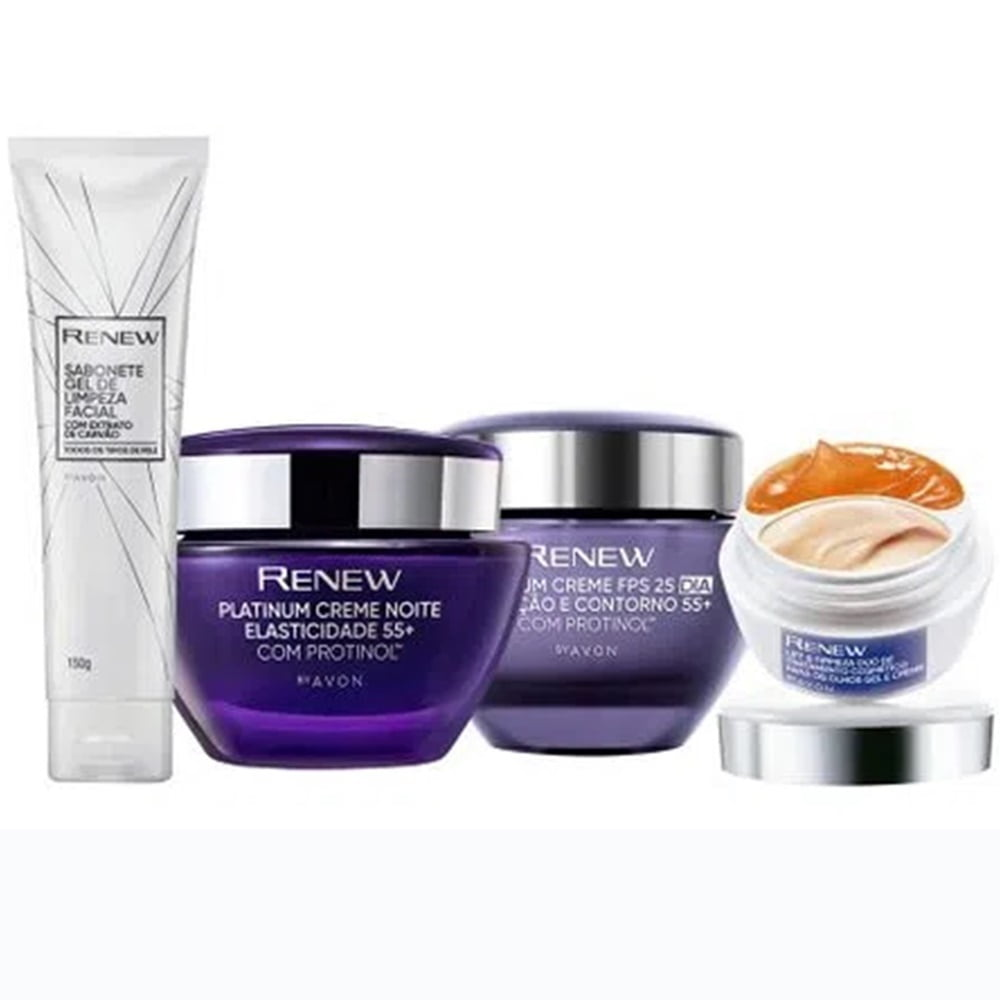 Avon Renew Platinum 55+ Kit Dia + Noite + Gel + Olhos