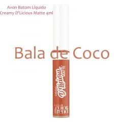 Avon Batom Líquido Creamy D'Licious Matte Bala de Coco 4ml