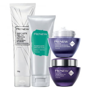 Avon Renew Platinum 55+ Kit Dia + Noite + Gel + Purificante