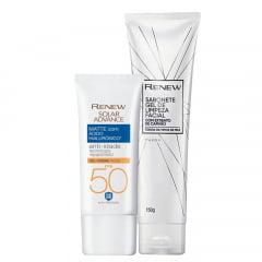 Avon Kit Renew Protetor Facial Renew Solar Advance Matte com Ácido Hialurônico FPS 50 50g + Gel de Limpeza