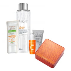 Avon Renew Vitamina C Kit Dia - Vitamina C + Tonico C + Mini Gel + Fps 50 Sem Cor + Lata