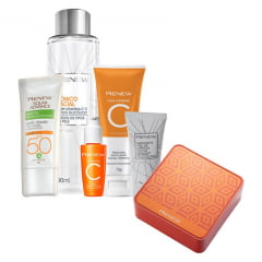 Avon Renew Vitamina C Kit Semanal - Vitamina C + Tonico C + Mini Gel + Fps 50 Sem Cor + Warming Peel + Lata