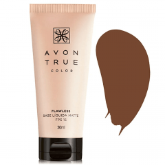 AVON TRUE COLOR BASE LÍQUIDA MATTE FPS 15 TRUE COLOR 30ML CANELA ESCURO