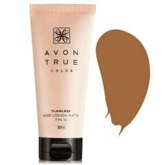 AVON TRUE COLOR BASE LÍQUIDA MATTE FPS 15 TRUE COLOR 30ML MEL ESCURO